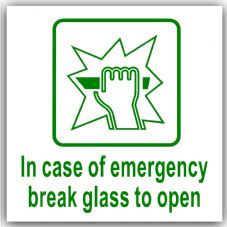 1 x In Case of Emergency Break Glass to Open-87x87mm-Self Adhesive Sticker-Health and Safety-Door